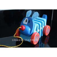 外贸原单 流氓狗 拉拉响 拖拉板块车 木制儿童益智玩具 1-2岁