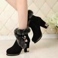 冬季雪地靴女短靴粗跟厚底女靴防水台磨砂皮棉靴女靴子皮毛一体