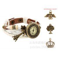爆款手工编织韩国时尚手链表复古表女表批发蝴蝶真皮手表 1件代发