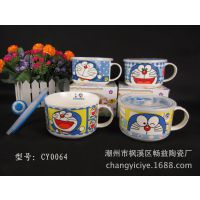 陶瓷餐具 陶瓷泡面碗 卡通可爱面杯 创意保鲜杯 礼品定制