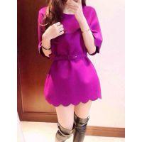 2014秋冬新款优雅迷人紫色花边波浪边气质毛呢连衣裙 配腰带