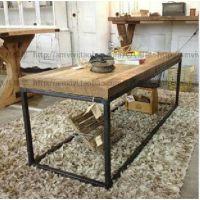 铁艺实木茶几 手工做旧 工业风格家具 桌子户外茶几桌户外茶几桌
