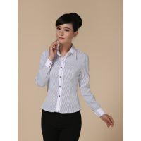 武汉房产中介长袖衬衫OL职业女装黑色条纹女衬衫  长袖班服开衫