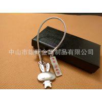 厂家供应小白兔钢丝绳钥匙挂件创意金属工艺小礼品赠品