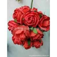 批发2.5公分喷金小玫瑰花 喜糖盒子礼盒装饰用花 婚庆用品