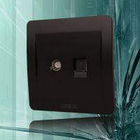 墙壁开关插座面板正品 C3有线电视电话插座面板 电视+电话插座