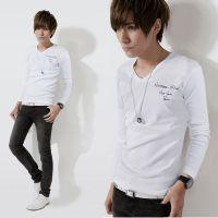 厂家直销 2014秋季新款男时尚修身纯色V领T恤男长袖印花打底衫潮