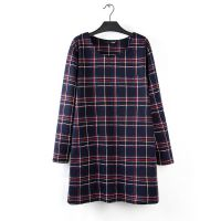 L16加大码女装胖MM秋冬新款中长款加厚格子迷彩T恤打底衫  0.45kg