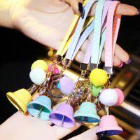 小商品批发 皮革毛球铃铛蒙奇奇汽车钥匙扣挂件女士钥匙圈汽车挂