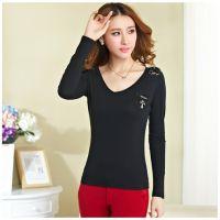 2014秋装新款大码女装 韩版修身显瘦长袖V领T恤 女士打底衫632961