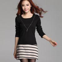 (实拍) 秋装新韩版女款大码打底衫长袖T恤中长款连衣裙