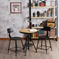 铁艺吧椅三件套咖啡桌椅可升降茶几做旧圆桌休闲吧复古实木茶几