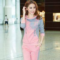 秋新款韩版女款大码卫衣运动休闲套装印花连帽修身版