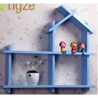 美优创意格子墙壁架壁挂烤漆小房子搁板置物架装饰木屋 壁挂