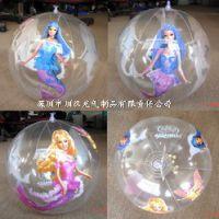 专业生产6P环保卡通透明pvc充气球 led发光充气玩具球 广告水上球