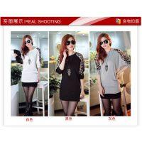 批发2013新款韩版优质豹纹拼接肩休闲蝙蝠袖宽松长袖大码T恤