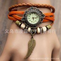 欧美韩版时尚复古手链表 编制手链表 翅膀挂件手链表 现货供应