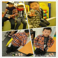 韩版衬衫 男 zar*加绒双层儿童衬衫 格子休闲童衬衫 外贸儿童衬衫
