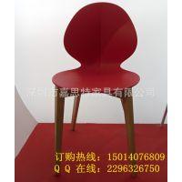 广东家具 树叶形塑料椅子 环保PP塑胶椅配榉木脚