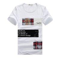2014夏装新款贴补刺绣图案t恤 男士短袖T恤 潮 男修身半袖打底衫