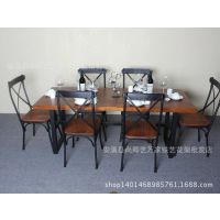 一桌六椅铁艺复古实木餐桌餐厅咖啡馆桌椅组合