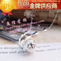 雅丽华韩国银饰品 缕空球镀银 925纯银项链 外贸批发 含链