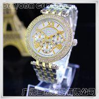 现货供应 罗马数字合金手表 玫瑰金色带钻精美女士手表