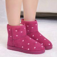 厂家直销 韩版2014冬款女短筒雪地靴心形波点舒适耐磨底保暖棉靴