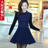 2014秋冬新款韩版毛线长袖连衣裙波点修身打底裙长袖毛呢裙