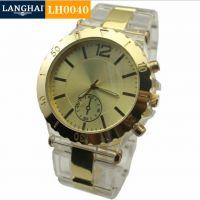 精品推荐 间金透明塑胶商务手表 男士环何塑胶手表 时尚男士手表