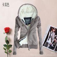 AF女装卫衣加厚毛内胆夹克连帽开衫外套韩版休闲卫衣2014新款