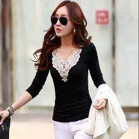 2014秋装新款 韩版女装花边装饰打底衫 女士长袖T恤