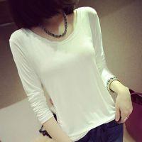 2014早秋季韩版莫代尔 长袖t恤女 打底衫修身显瘦圆领 货真价实