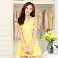 供应2014夏新款女式连衣裙韩版修身时尚条纹大码欧根纱无袖品牌连衣裙