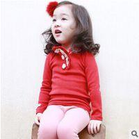 韩版品牌童装2014秋季新款高领长袖中小童打底衫女童棉上衣 81110