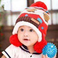 出口韩国 三球保暖护耳帽 宝宝加绒加厚针织帽 冬季户外帽