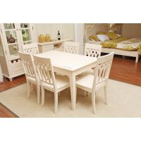 印象巴黎简约餐桌欧式实木饭桌长方形餐桌餐厅餐台(不含餐椅)