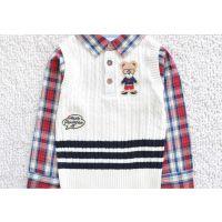 DC2014春韩国专柜新款 男童衬衣领假两件套毛衣 套头针织衫