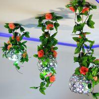 空调管道装饰玫瑰仿真花 仿真假花藤蔓藤条塑料花藤墙壁挂花 捷花