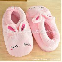 卡通绣花棉鞋 可爱兔子公仔保暖棉鞋 户外包跟棉拖鞋