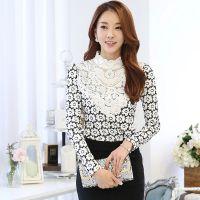 2014秋冬装新款韩版大码蕾丝衫加厚加绒立领长袖蕾丝打底衫