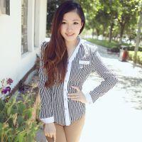 2013秋装新款 深V长袖黑白竖条纹衬衫韩版潮打底雪纺衫女装衬衣
