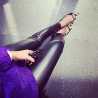 小银子2014冬装新款韩版松紧腰显瘦加绒加厚皮裤外穿打底裤