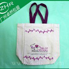 广州袋厂供应纯棉手提帆布袋 广告锈花印花帆布礼品袋