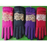 锐创 冬季新款富贵蕾丝花边女手套 防雨绸加厚保暖手套CC4241078