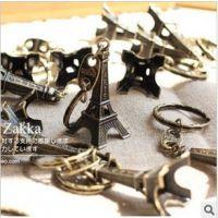 杂货批发 韩国创意复古埃菲尔铁塔钥匙扣 复古色钥匙挂件2021219