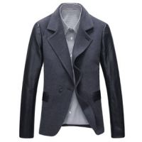 气质男装!高品质西装 拼皮时尚休闲西服 修身西装外套