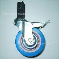 多功能餐车脚轮 4寸丝杆活动双刹PVC轮子 直径100MM CW151