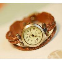 流行时尚复古原素风英伦女 田园风格休闲 编织带皮革仿古柳丁手表