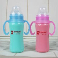 新优怡YF-1149有柄宝宝不锈钢真空保温奶瓶180ML,母婴用品代理